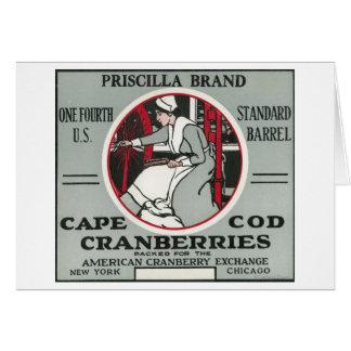 Cape Cod Priscilla Brand Cranberry Label Greeting Card