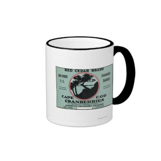 Cape Cod Red Cedar Brand Cranberry Label Coffee Mugs