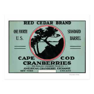 Cape Cod Red Cedar Brand Cranberry Label Postcard