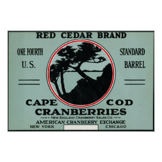 Cape Cod Red Cedar Brand Cranberry Label Poster