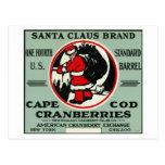 Cape Cod Santa Claus Brand Cranberry Label Postcard