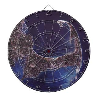 Cape Cod Satellite Photograph Dartboard With Darts