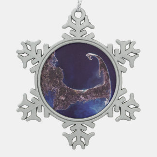 Cape Cod Satellite Photograph Snowflake Pewter Christmas Ornament
