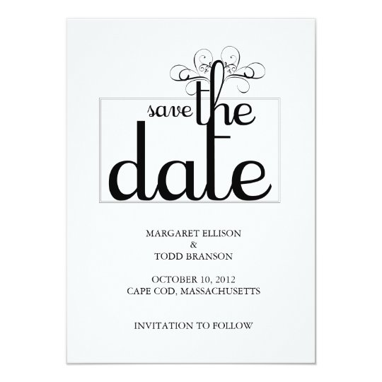 Cape Cod Save the Date Card:  Bride & Groom Card
