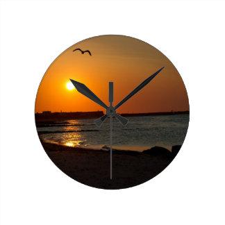 Cape Cod Sunrise Round Wall Clocks