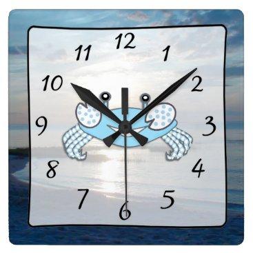 Beach Themed Cape Cod Sunset Ocean View Beach Crab Clock