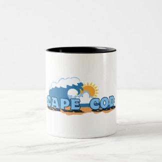 "Cape Cod ""Waves"" Design. Two-Tone Coffee Mug"