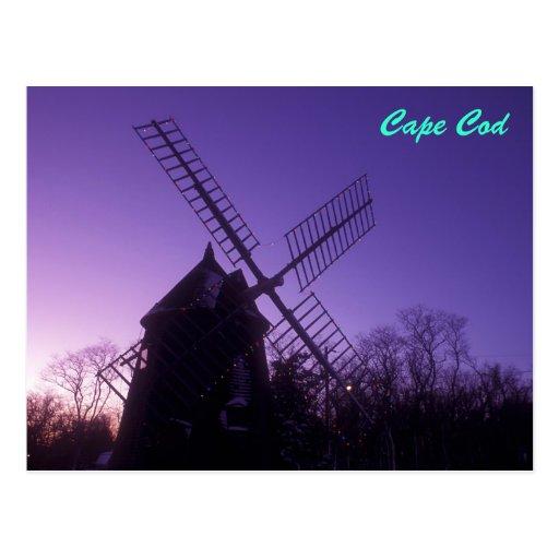 Cape Cod Windmill at Twilight Postcards
