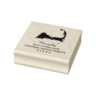 Cape Code Massachusetts Map Wedding Rubber Stamp