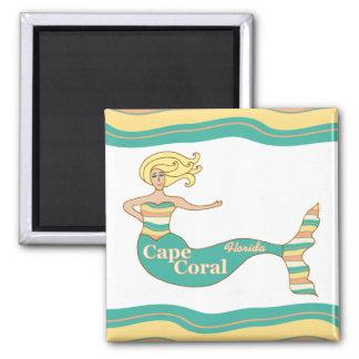 Cape Coral, FL Mermaid Square Magnet