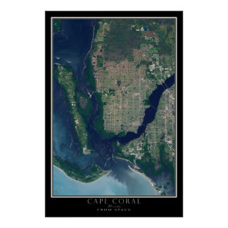 Cape Coral Florida From Space Satellite Map Poster
