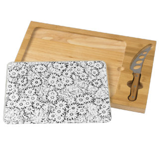 Cape Daisies Black White Flower Pattern Cheese Board