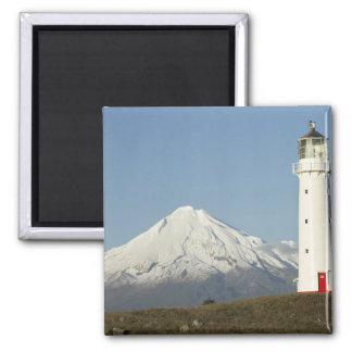 Cape Egmont Lighthouse and Mt Taranaki / Mt 2 Inch Square Magnet