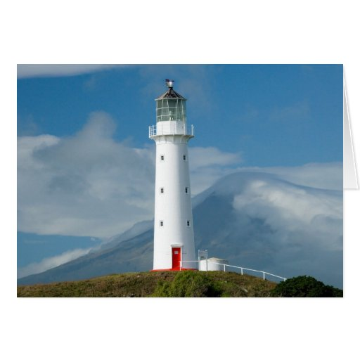 Cape Egmont Lighthouse and Mt Taranaki/Mt Greeting Card