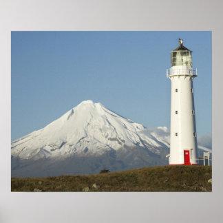 Cape Egmont Lighthouse and Mt Taranaki / Mt Poster