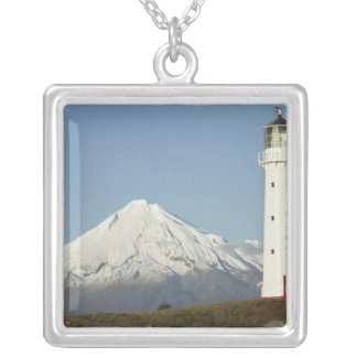 Cape Egmont Lighthouse and Mt Taranaki / Mt Silver Plated Necklace