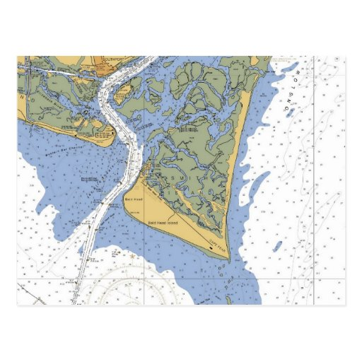 Cape Fear, NC Nautical Chart Postcard