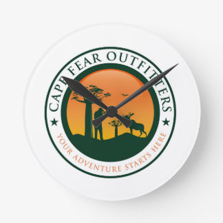 Cape Fear Outfitters Logo Round Clock