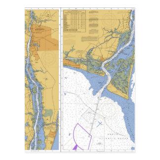 Cape Fear River, NC Nautical Chart Postcard