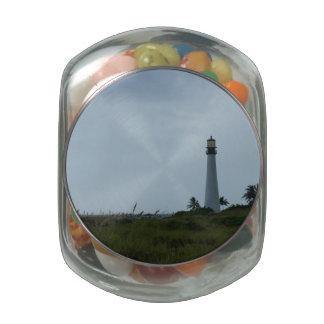 Cape Florida Lighthouse Glass Candy Jar