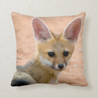 Cape Fox (Vulpes Chama) Pup Peers Inquisitively Throw Pillow