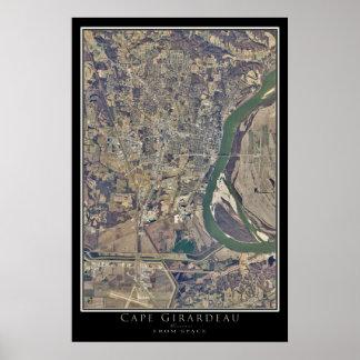 Cape Girardeau Missouri From Space Satellite Art Poster