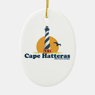 Cape Hatteras. Double-Sided Oval Ceramic Christmas Ornament