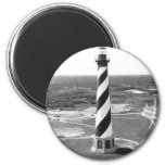 Cape Hatteras Lighthouse black and white photo 2 Inch Round Magnet