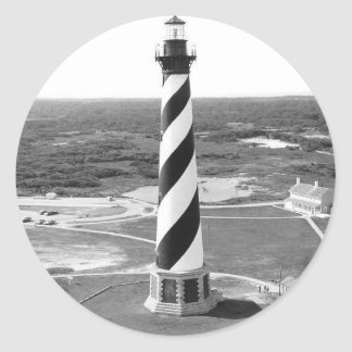 Cape Hatteras Lighthouse black and white photo Classic Round Sticker