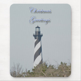 Cape Hatteras Lighthouse Christmas Greetings Mouse Pad