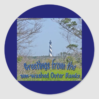 Cape Hatteras Lighthouse from Wetlands Series Classic Round Sticker