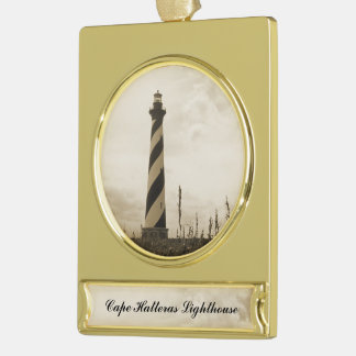 Cape Hatteras Lighthouse Gold Plated Banner Ornament