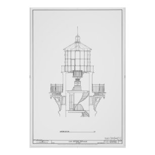 Cape hatteras lighthouse blueprint art wall dcor zazzle cape hatteras lighthouse lantern room blueprint poster malvernweather Image collections