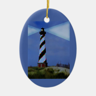 CApe Hatteras Lighthouse Double-Sided Oval Ceramic Christmas Ornament