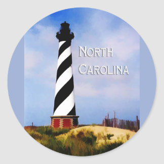 Cape Hatteras Lighthouse Poster  North Carolina Classic Round Sticker