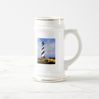Cape Hatteras Lighthouse Poster Text Outer Banks Beer Stein