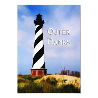 Cape Hatteras Lighthouse Poster Text Outer Banks Card
