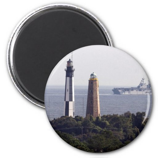 Cape Henry Lighthouses 2 Inch Round Magnet