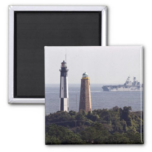 Cape Henry Lighthouses 2 Inch Square Magnet
