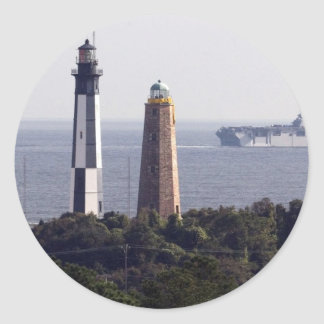 Cape Henry Lighthouses Round Stickers