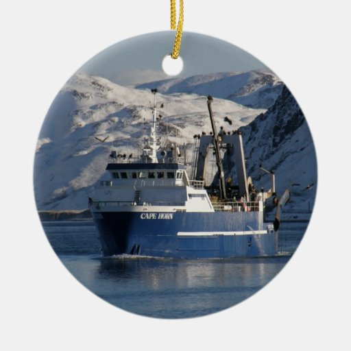 Cape Horn, Factory Trawler in Alaska Double-Sided Ceramic Round Christmas Ornament