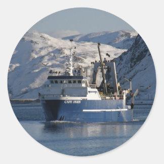 Cape Horn, Factory Trawler in Dutch Harbor, AK Classic Round Sticker