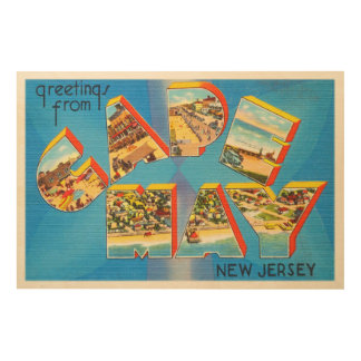 Cape May #2 New Jersey NJ Vintage Travel Postcard- Wood Print