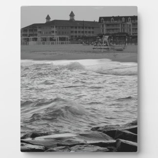 Cape May Beach in B&W Plaque
