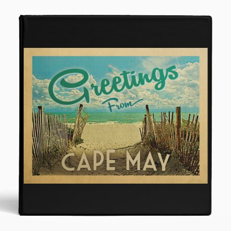 Cape May Beach Vintage Travel 3 Ring Binder