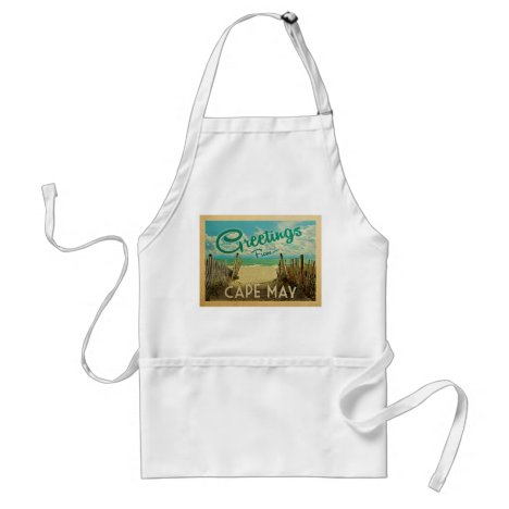 Cape May Beach Vintage Travel Adult Apron