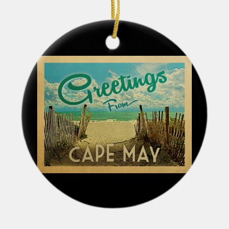Cape May Beach Vintage Travel Ceramic Ornament
