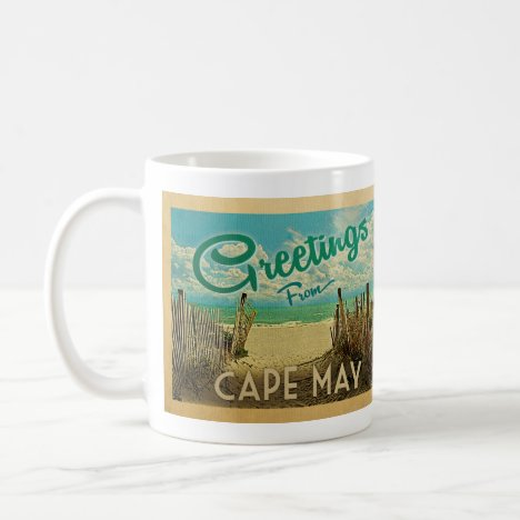 Cape May Beach Vintage Travel Coffee Mug