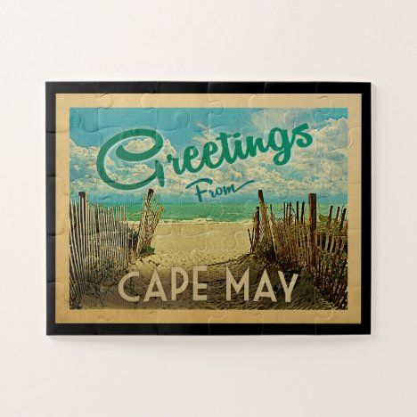 Cape May Beach Vintage Travel Jigsaw Puzzle