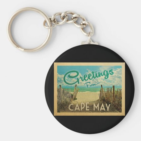 Cape May Beach Vintage Travel Keychain